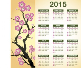 2015 Calendar with plum flower vector