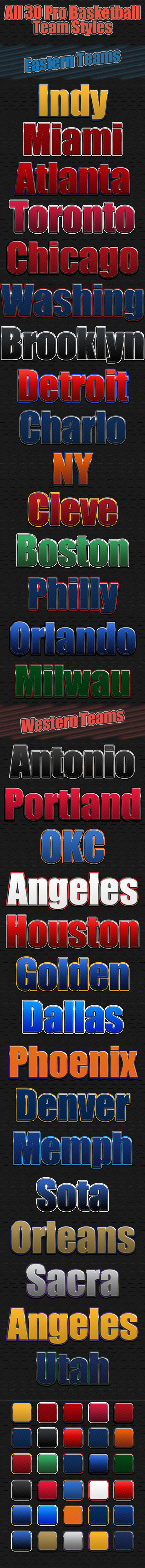 30 Kind basketball text styles
