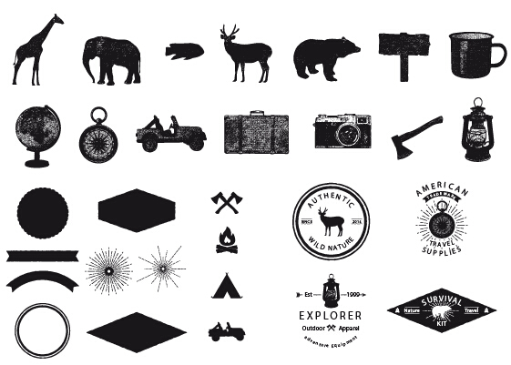 Adventure elements retro design vector