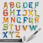 Link toAlphabet paper cut creative vector 02