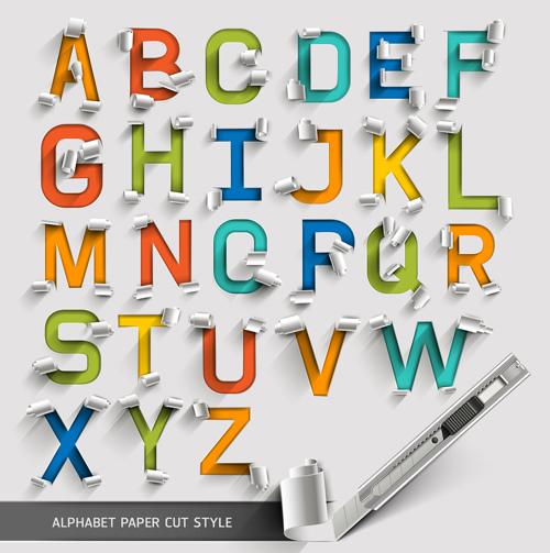 Alphabet paper cut creative vector 02