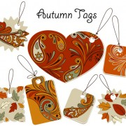 Link toAutumn floral tags design vector