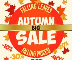Autumn promo poster sale vector 01