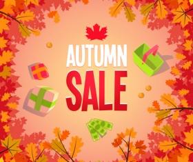 Autumn promo poster sale vector 04