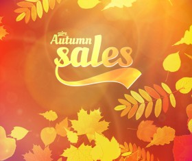 Autumn sale background set vector 01
