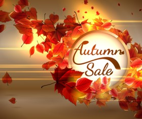 Autumn sale background set vector 02