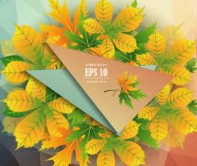 Beautiful autumn leaves with paper background 03