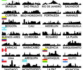 Big cities silhouette set vector 03
