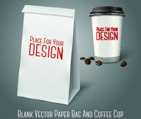 Blank paper bag and coffee cup vector