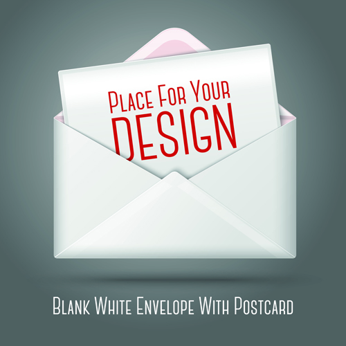 Blank white envelopes with postcard vector