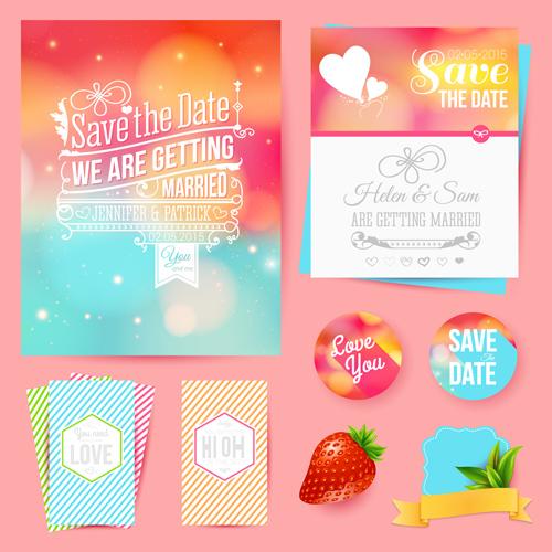Blurred wedding invitation cards vector elements 01