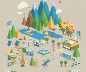 Camping creative design template vector