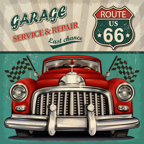 Car posters vintage style vector material 01