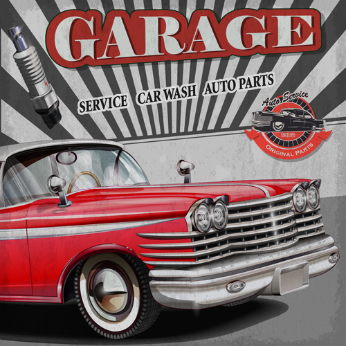 Car posters vintage style vector material 02