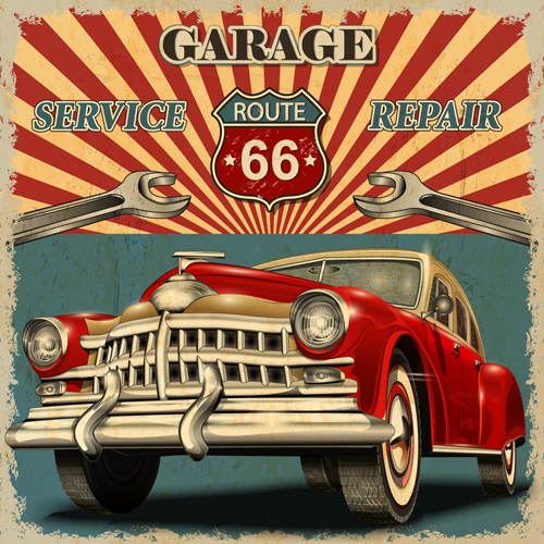 Car posters vintage style vector material 04