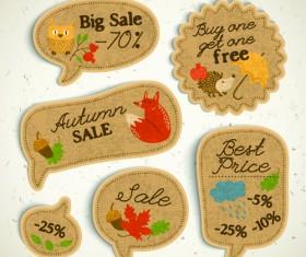 Cardboard autumn sale labels vector 01