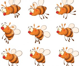 Cartoon bees design vector graphics