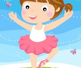 Cartoon little girl vector material 01