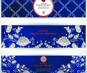 Chinese porcelain ornament banner vector 01