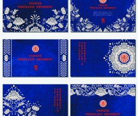 Chinese porcelain ornament cards vector 01