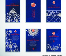 Chinese porcelain ornament cards vector 02