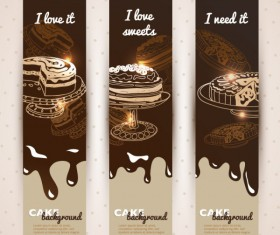 Chocolate cake banner vector background