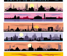 City sunset silhouette vector graphics