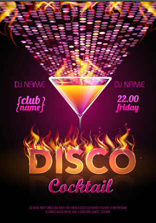 Cocktail Disco Night Party Poster Vector Set 01 Vector