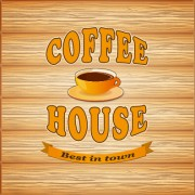 Link toCoffee poster with wooden background vector 01