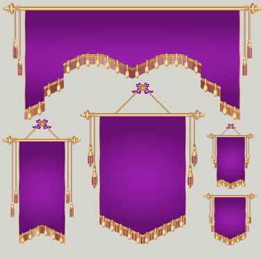 Colored royal pennants design vector 02