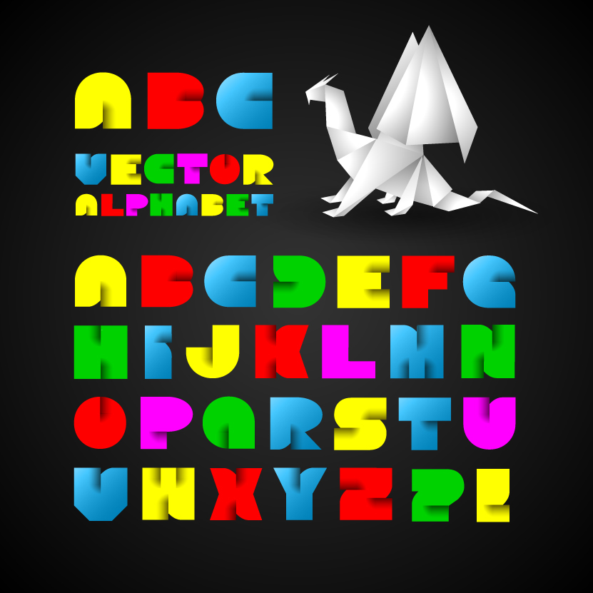 Vector Origami Alphabet. Letter Collection Stock Vector ... | 831x831