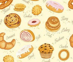 Cookies desserts and bread seamless pattern vector