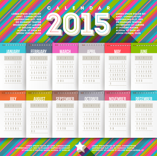Creative Calendar Design Template 2015 : Creative calendar vector design set over