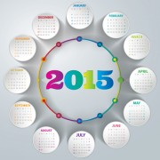 Creative calendar 2015 vector design set 02