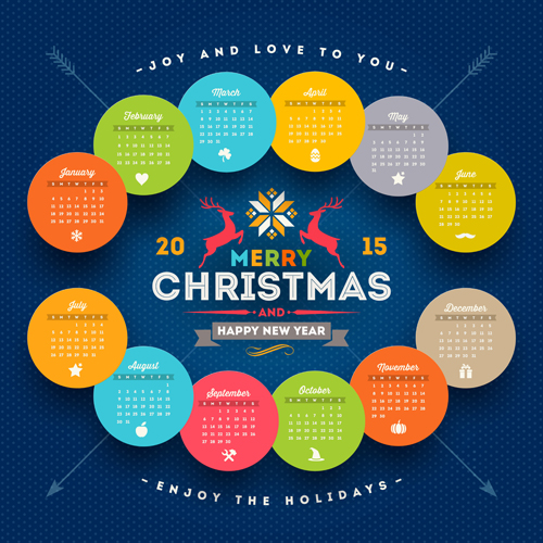 Creative Calendar Design Template 2015 : Creative calendar vector design set