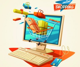 Creative shopping elements set vecter 02