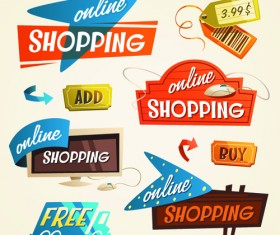 Creative shopping elements set vecter 03