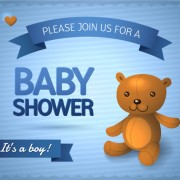 Link toCute baby bear card with ribbon vector