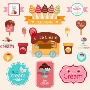 Link toCute ice cream logos with label elements vector 01