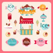 Link toCute ice cream logos with label elements vector 02
