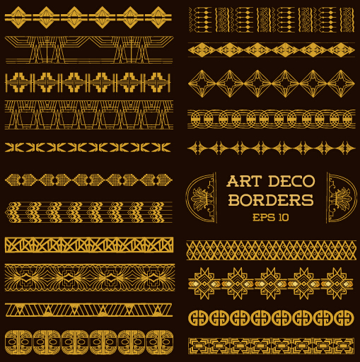 Deco Art Borders Golden Vector Vector Frames Amp Borders
