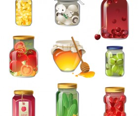 Canned fruits and vegetables vector icons