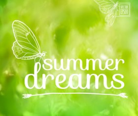 Dreams summer with butterfly background