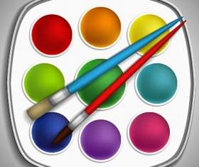 Dyes and brush pen vector