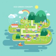 Eco city concept template vector 01