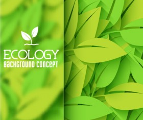 Ecology green leaf shiny background vector