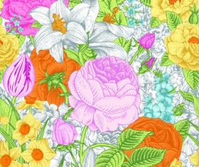Elegant retro floral vector seamless pattern 02