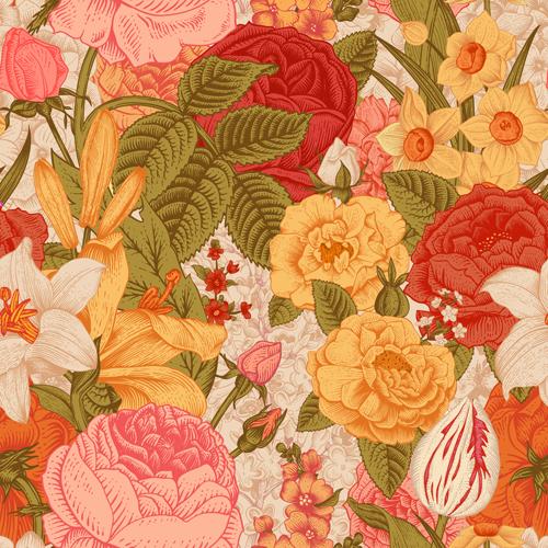 Elegant retro floral vector seamless pattern 05