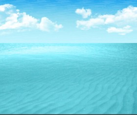 Endless sea and clouds vector background