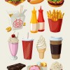 Fast food and chocolate with ice cream icons vector